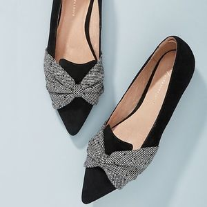 Anthropologie Knotted Bow Suede & Tweed Flats